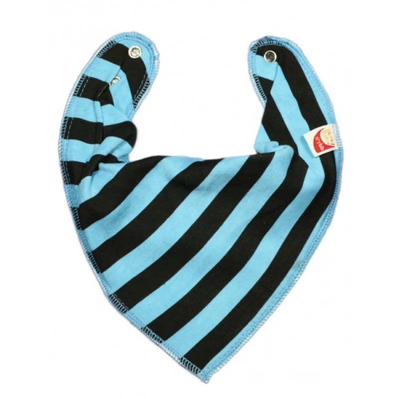 DryBib Bandana Bib - Turquoise and Black Stripes
